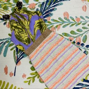Milly Tortoise, Tweed, & Floral Silk Halter Dress